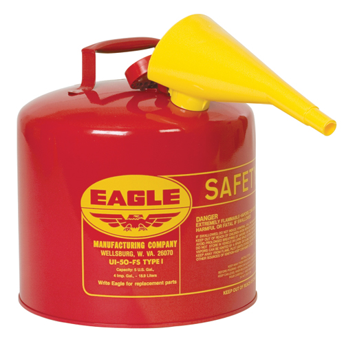 Eagle UI-50-FS Safety Fuel Can - 5 Gallon, Type I Red Safety Can w/ Funnel