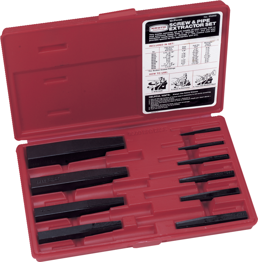 diamond tool proto j9500b 10 piece screw extractor set made in the usa. Black Bedroom Furniture Sets. Home Design Ideas