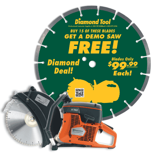 "Diamond Blade Package Buy (15) 14"" Diamond Blades for $99.00 & Get A FREE H"