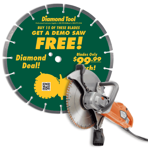 """Diamond Blade Package - Buy (15) of the 14"""" Dry Diamond Blades and Get A FR"""
