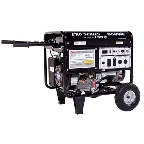 Lifan 8500W Gas Generator - 7500W Rated Recoil & Electric Start with Wheel