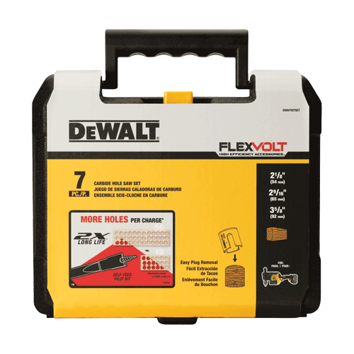 DeWalt DWAFV07SET FLEXVOLT™ Wood Cutting Carbide Hole Saw Kit - 7 Piece Set